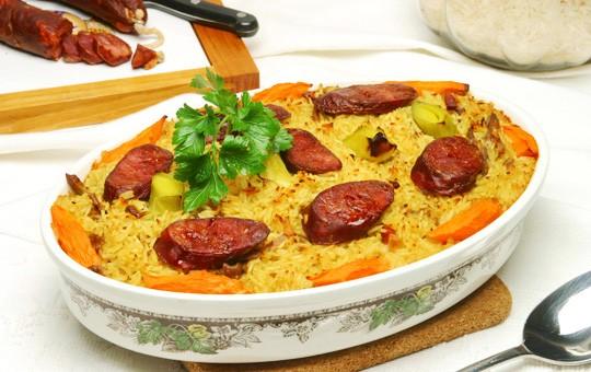 arroz de pato ao forno c passas | Meia Dose